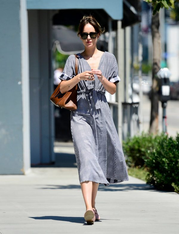 Dakota Johnson in Small Checked Dress Out in Los Angeles 2019/07/14 1