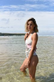 Ella Jarvis in Stylish Floral Swimsuit on Crantock Beach 2019/07/25 4
