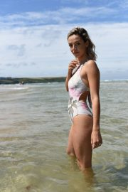 Ella Jarvis in Stylish Floral Swimsuit on Crantock Beach 2019/07/25 8