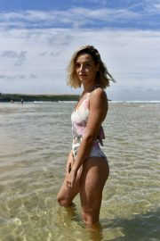 Ella Jarvis in Stylish Floral Swimsuit on Crantock Beach 2019/07/25 9