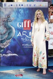 Elle Fanning in Stylish Dress attends the Giffoni Film Festival Day 4 2019/07/22 15