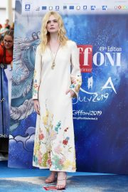 Elle Fanning in Stylish Dress attends the Giffoni Film Festival Day 4 2019/07/22 17