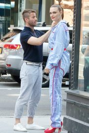 Emily Deschanel in Blue Small Checked Dress Out Build Series in New York 2019/07/16 4