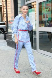 Emily Deschanel in Blue Small Checked Dress Out Build Series in New York 2019/07/16 7