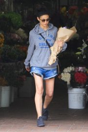 Emmanuelle Chriqui in Grey Hoodies and Shorts Out in Los Angeles 2019/04/08 1