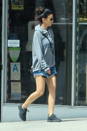 Emmanuelle Chriqui in Grey Hoodies and Shorts Out in Los Angeles 2019/04/08 2