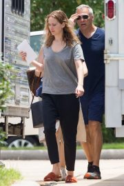 Jennifer Lawrence in Grey T-Shirt at Lila Neugebauer Project in New Orleans 2019/04/07 3