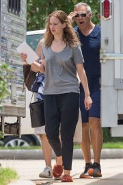 Jennifer Lawrence in Grey T-Shirt at Lila Neugebauer Project in New Orleans 2019/04/07 4