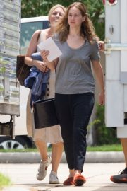 Jennifer Lawrence in Grey T-Shirt at Lila Neugebauer Project in New Orleans 2019/04/07 5