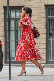 Katie Holmes wears in Red Floral Dress Out in New York 2019/07/23 1