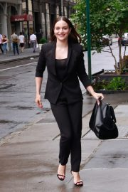 Aisling Franciosi in Black Outfit arrives at Build Series in New York 2019/08/07 5