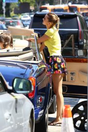 Bella Hadid in Yellow Top and Floral Print Short out in Los Angeles 2019/08/09 12