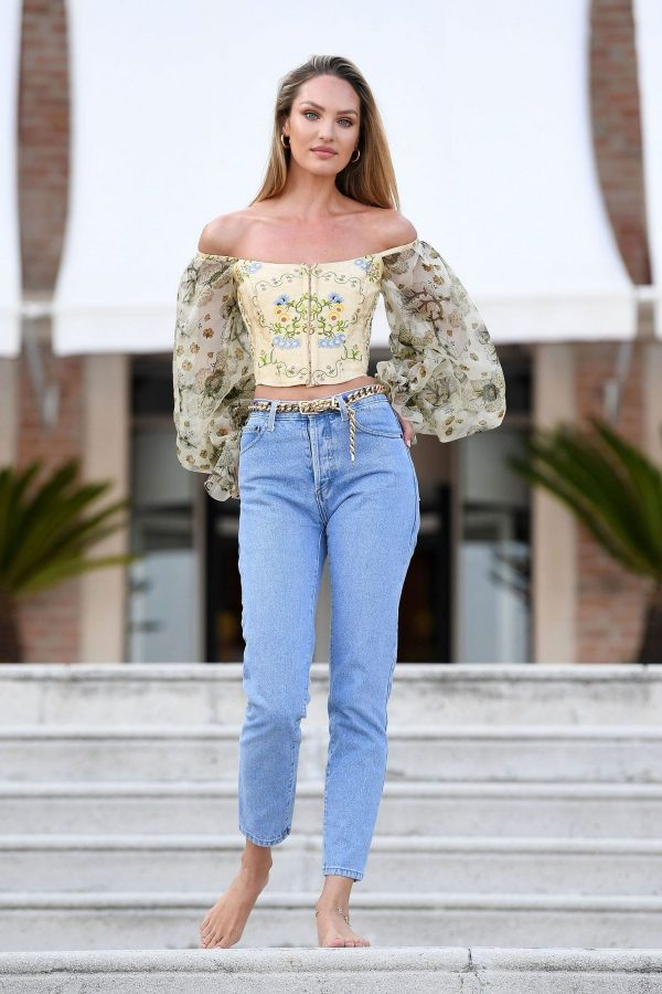 Candice Swanepoel in Off Shoulder Top and Denim on Excelsior the 76th Venice Film Festival 2019/08/27 27
