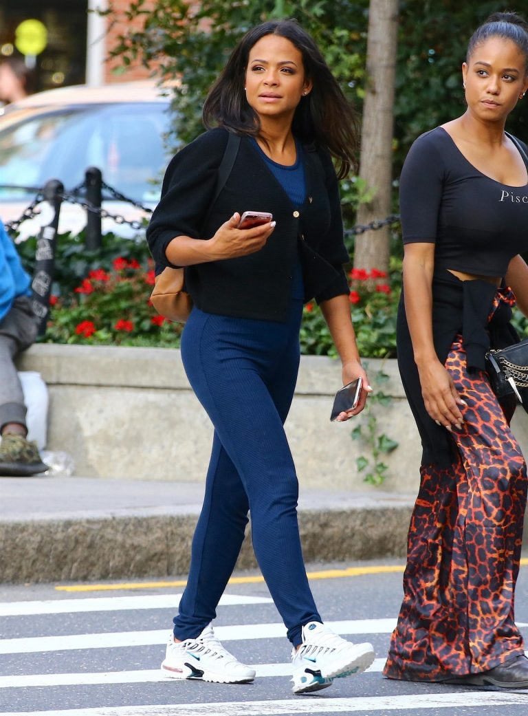 Christina Milian in Fully Nave Blue Outfit Out in New York 2019/08/26 1