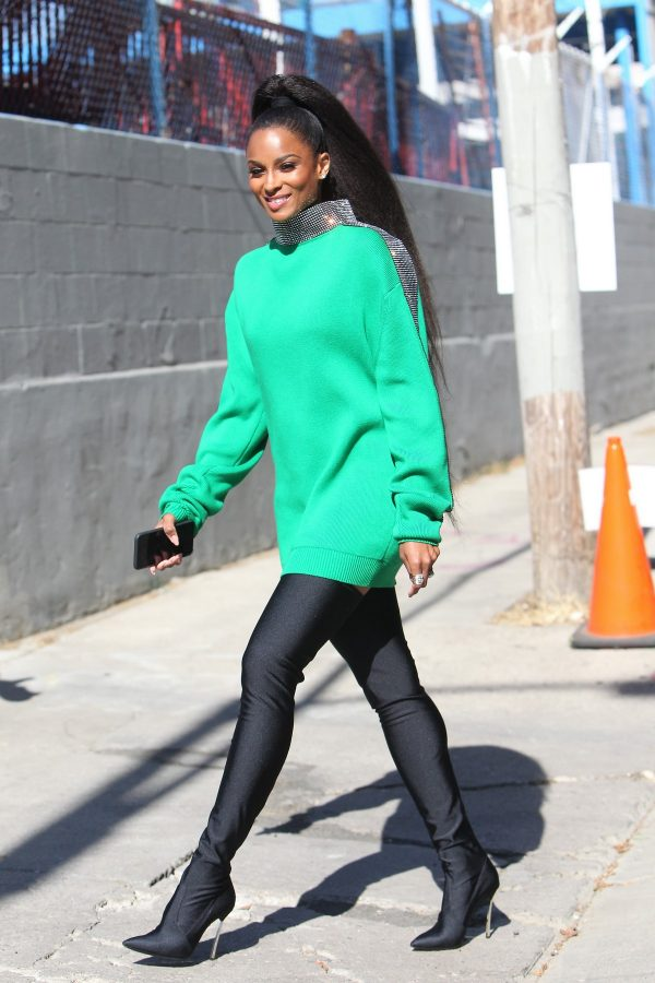 Ciara in Green and Black Combination Outfit to film America's Most Musical Family in Los Angeles 2019/08/05 6
