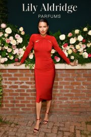 Adriana Lima in Red Dress at Lily Aldridge Parfums Launch Party at Bowery Hotel 2019/09/08 4