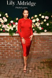 Adriana Lima in Red Dress at Lily Aldridge Parfums Launch Party at Bowery Hotel 2019/09/08 5