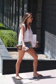 Alessandra Ambrosio in White Trans Top and Short Denim Out in Santa Monica 2019/08/29 1