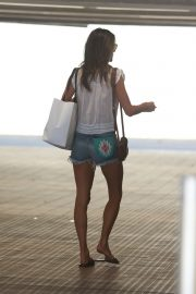 Alessandra Ambrosio in White Trans Top and Short Denim Out in Santa Monica 2019/08/29 2