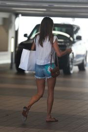 Alessandra Ambrosio in White Trans Top and Short Denim Out in Santa Monica 2019/08/29 3