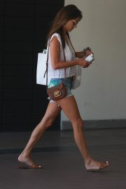 Alessandra Ambrosio in White Trans Top and Short Denim Out in Santa Monica 2019/08/29 5
