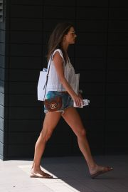 Alessandra Ambrosio in White Trans Top and Short Denim Out in Santa Monica 2019/08/29 6