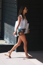 Alessandra Ambrosio in White Trans Top and Short Denim Out in Santa Monica 2019/08/29 7