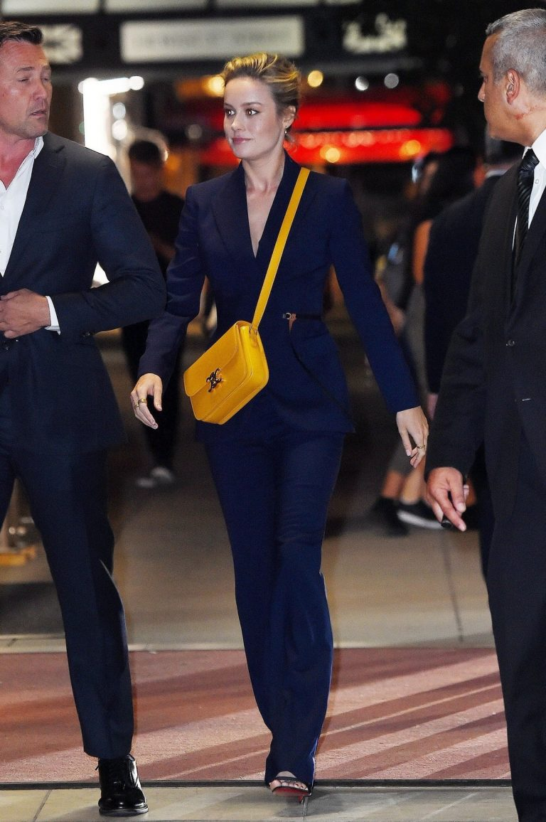 Brie Larson in Navy Outfit Night Out in New York 2019/09/08 2