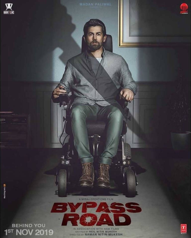 Bypass Road First Look Poster: Neil Nitin Mukesh, seen in wheel chair with fear of death in the first look poster of Bypass Road 1