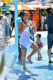 Christina Milian enjoys Cools Off In The Water at Universal Studios 2019/08/16 14