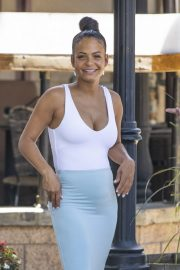Christina Milian flashes her cleavage in tight bodycon in Los Angeles 2019/09/07 12