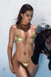 Demi Rose Mawby Photoshoot in Golden Color Tiny Bikini in Los Angeles 2019/07/15 2