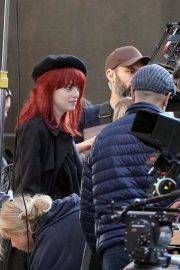 Emma Stone in Red Hair on the set of Cruella in London 2019/09/02 7