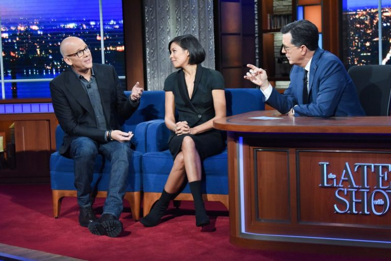 Alex Wagner and John Heilemann attend The Late Show with Stephen Colbert in Manhattan 2019/11/20 1