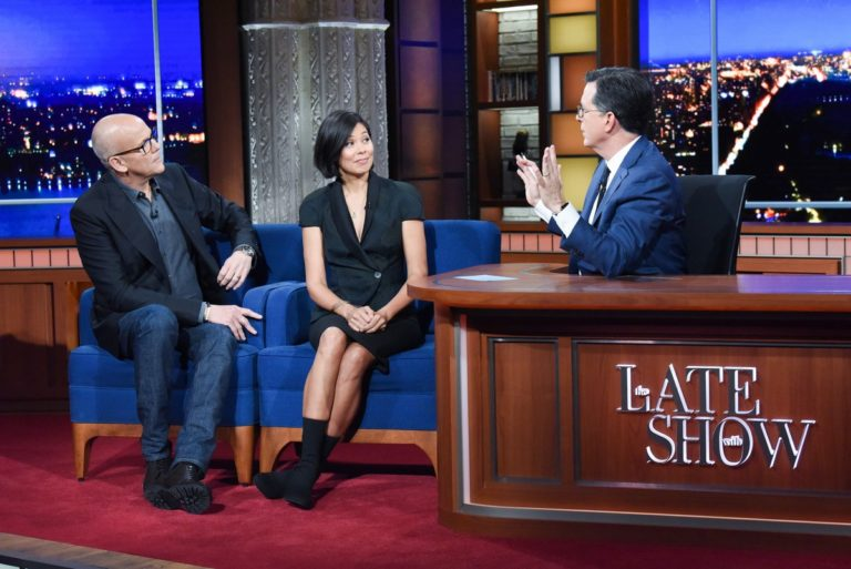 Alex Wagner and John Heilemann attend The Late Show with Stephen Colbert in Manhattan 2019/11/20 3