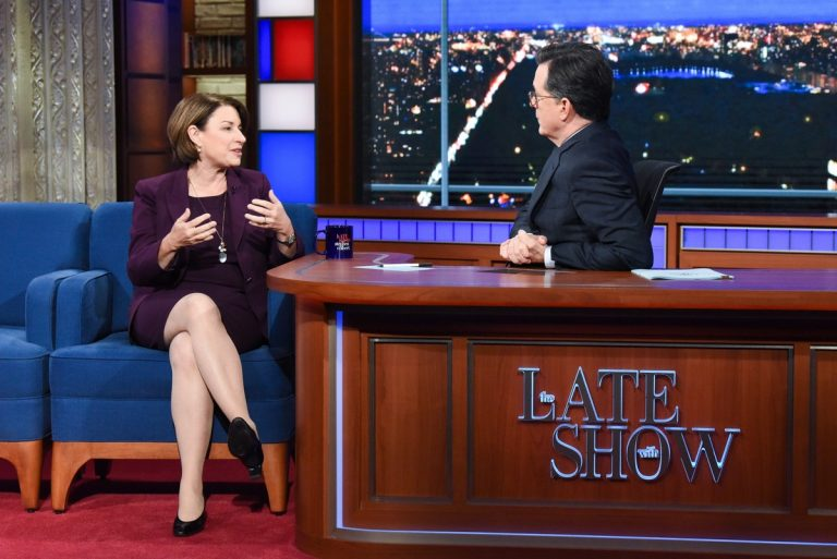 Amy Klobuchar attends The Late Show with Stephen Colbert in Manhattan 2019/11/05 1