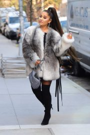 Ariana Grande in Fuax Fur Jacket with Long Boots Out in New York City 2019/11/09 1
