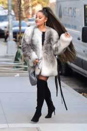 Ariana Grande in Fuax Fur Jacket with Long Boots Out in New York City 2019/11/09 2