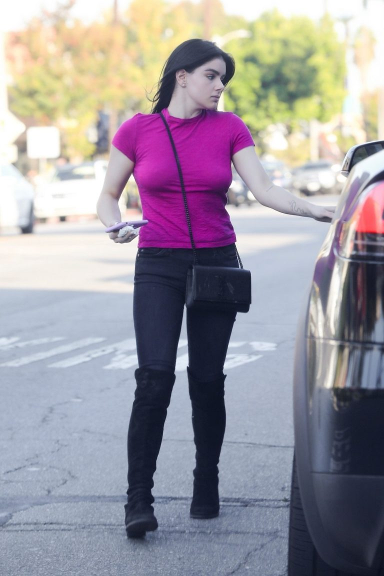Ariel Winter in purple top and black bottom out in Los Angeles 2019/11/25 1