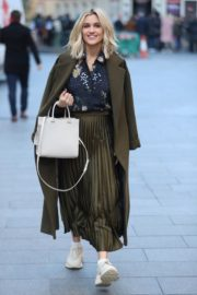 Ashley Roberts in olive plated skirt after her Heart Radio show in London 11/29/2019 5