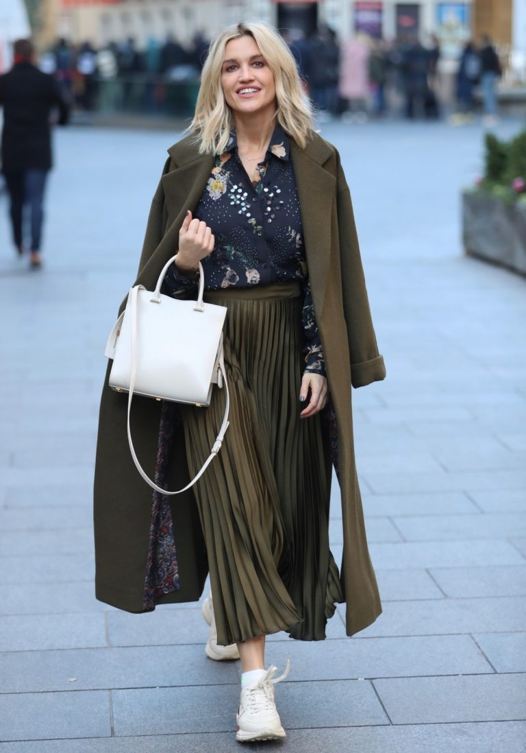 Ashley Roberts in olive plated skirt after her Heart Radio show in London 11/29/2019 6