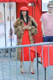 Bai Ling in red dress with cozy long coat at TCL Chinese Theater in Hollywood 2019/11/23 2