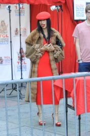 Bai Ling in red dress with cozy long coat at TCL Chinese Theater in Hollywood 2019/11/23 4