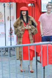 Bai Ling in red dress with cozy long coat at TCL Chinese Theater in Hollywood 2019/11/23 6