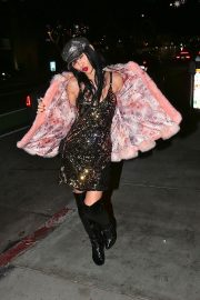 Bai Ling seen in Pinky Fur Jacket with Stylish Dress Night out in Los Angeles 2019/11/09 1