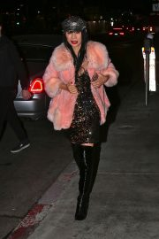 Bai Ling seen in Pinky Fur Jacket with Stylish Dress Night out in Los Angeles 2019/11/09 3