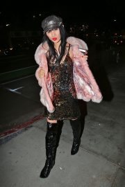 Bai Ling seen in Pinky Fur Jacket with Stylish Dress Night out in Los Angeles 2019/11/09 4