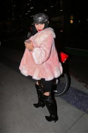 Bai Ling seen in Pinky Fur Jacket with Stylish Dress Night out in Los Angeles 2019/11/09 5