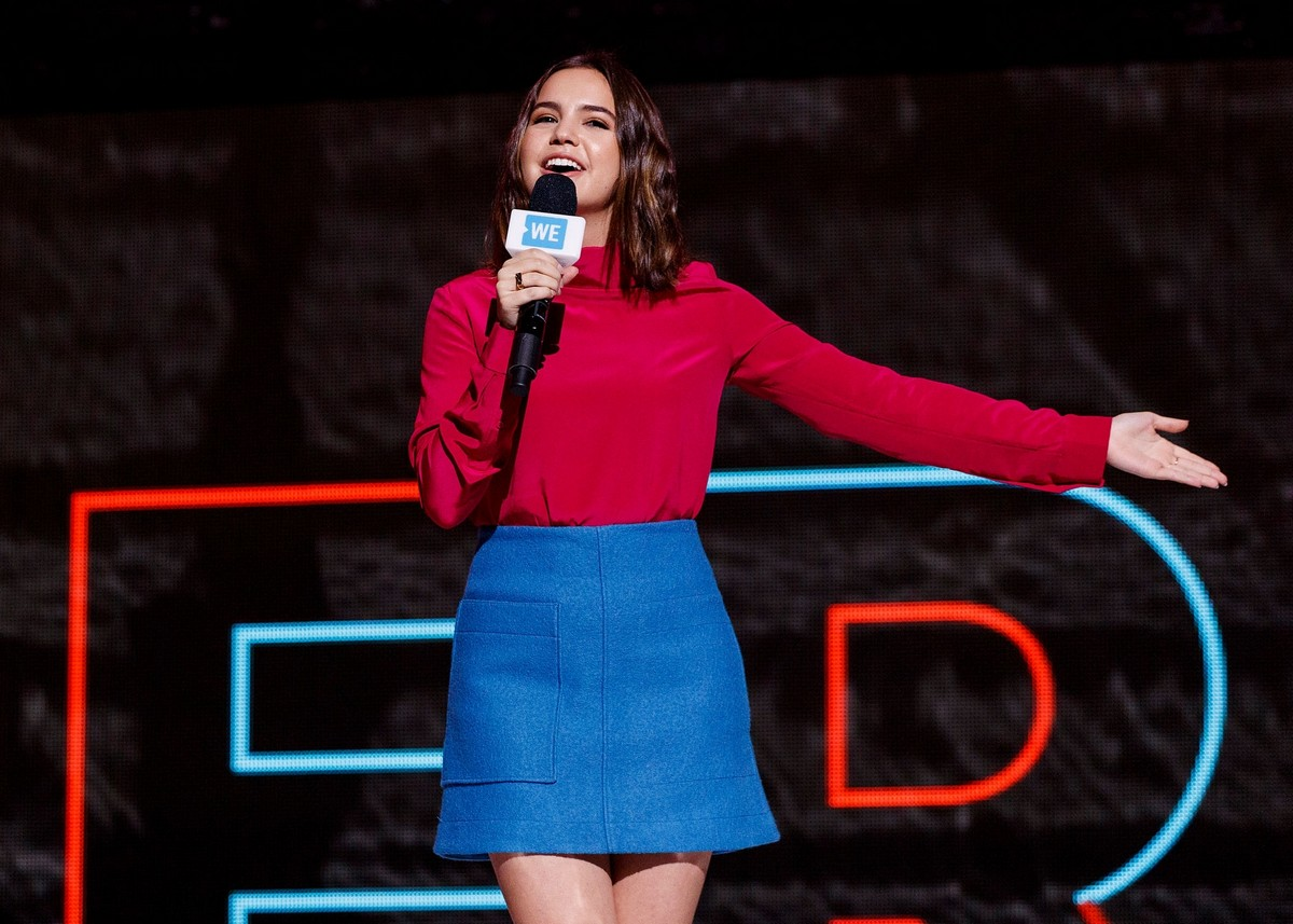 Bailee Madison in Red and Blue at We Day in Vancouver 2019/11/19 1