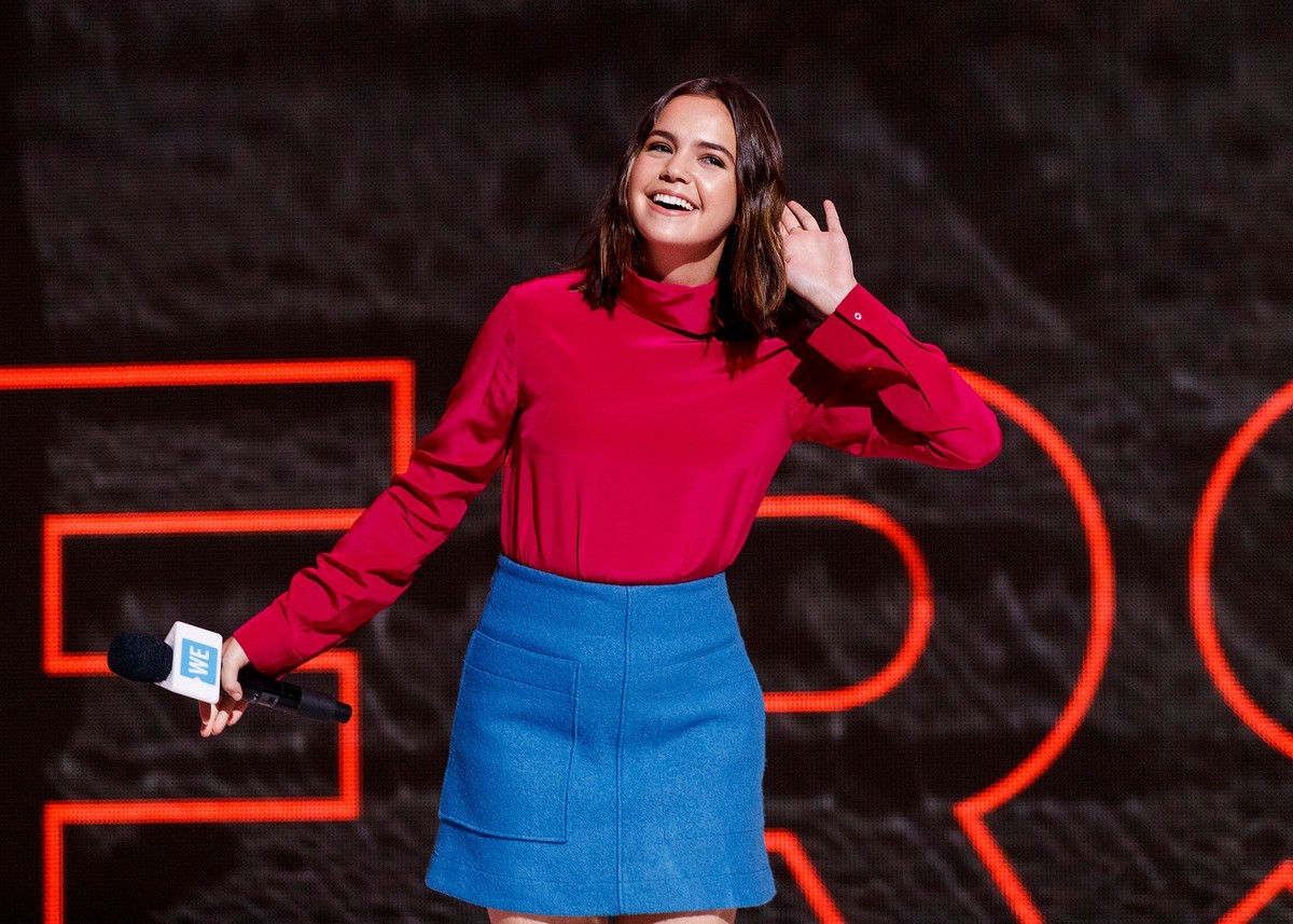 Bailee Madison in Red and Blue at We Day in Vancouver 2019/11/19 6